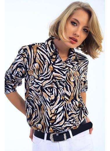Emjey Zebra Desen Gömlek Siyah